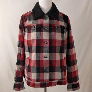 Pendleton Buffalo Plaid Wool Jacket Coat Fur Sz L